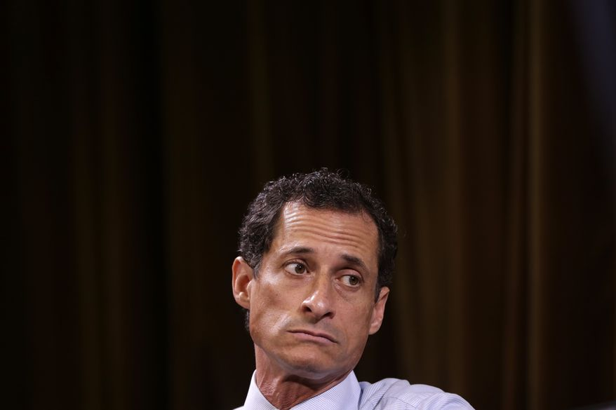 New York City mayoral hopeful Anthony Weiner participates in a candidate's forum in New York on Aug. 13, 2013. (Associated Press)