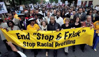 "The Rev. Al Sharpton leads a protest of New York's ""stop-and-frisk"" program in 2012. Last week, a federal judge sitting in New York said the department made thousands of racially discriminatory street stops and appointed a monitor to direct changes."