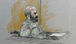 ** FILE ** Army Maj. Nidal Malik Hasan sits in court during his court-martial at Fort Hood, Texas, on Tuesday,  Aug. 6, 2013, in this artist's sketch. (AP Photo/Brigitte Woosley)