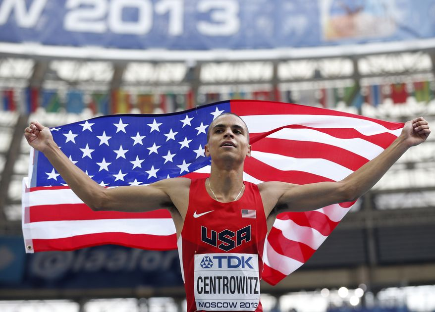 United States' Matthew Centrowitz celebrates winning the silver in the men's 1500-meter final at the World Athletics Championships in the Luzhniki stadium in Moscow, Russia, Sunday, Aug. 18, 2013. (AP Photo/Matt Dunham)