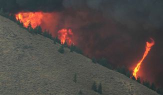A fire whirl highlights the erratic wind conditions from the 64,000 acre Beaver Creek Fire, north of Hailey, Idaho, on Aug., 16, 2013. A number of residential neighborhoods have been evacuated because of the blaze. (Associated Press/Times-News, Ashley Smith)