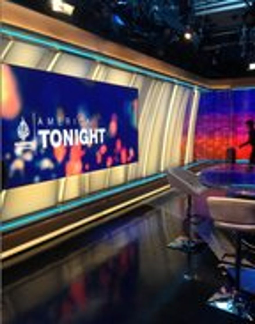 """""""America Tonight,"""" a prime-time news show hosted by former CNN anchor Joie Chen, is among the flagship programming on Al-Jazeera America, which debuted August 20, 2013. (Photo by Jennifer Harper/The Washington Times)"""