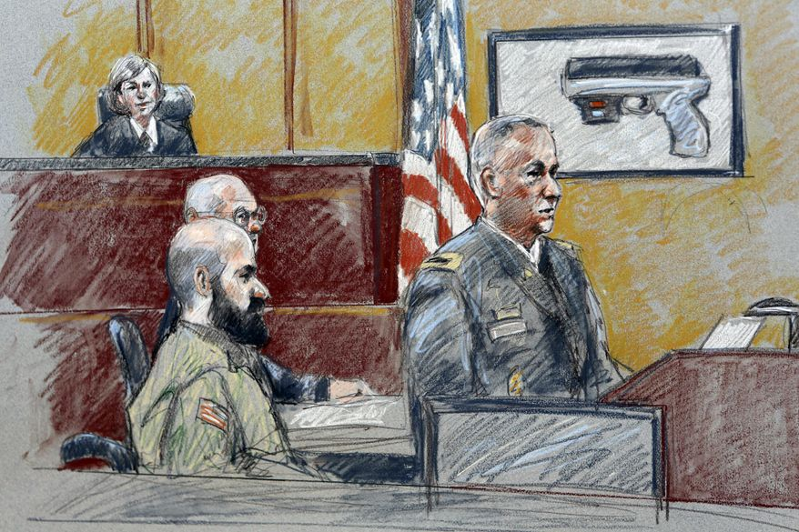 **FILE** In this file courtroom sketch from Aug. 6, 2013, military prosecutor Col. Steve Henricks (right) speaks as Nidal Malik Hasan (center) and presiding judge Col. Tara Osborn look on during Hasan's court-martial in Fort Hood, Texas. (Associated Press)