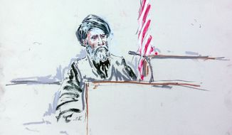 In this courtroom sketch, Haji Mohammad Naim testifies Aug. 20, 2013, in a courtroom at Joint Base Lewis-McChord, south of Seattle. Naim, an Afghan farmer shot during a massacre in Kandahar Province last year, took the witness stand at a sentencing hearing for Staff Sgt. Robert Bales, who attacked his village and one other in pre-dawn raids on March 11, 2012, killing 16 civilians. (Associated Press)