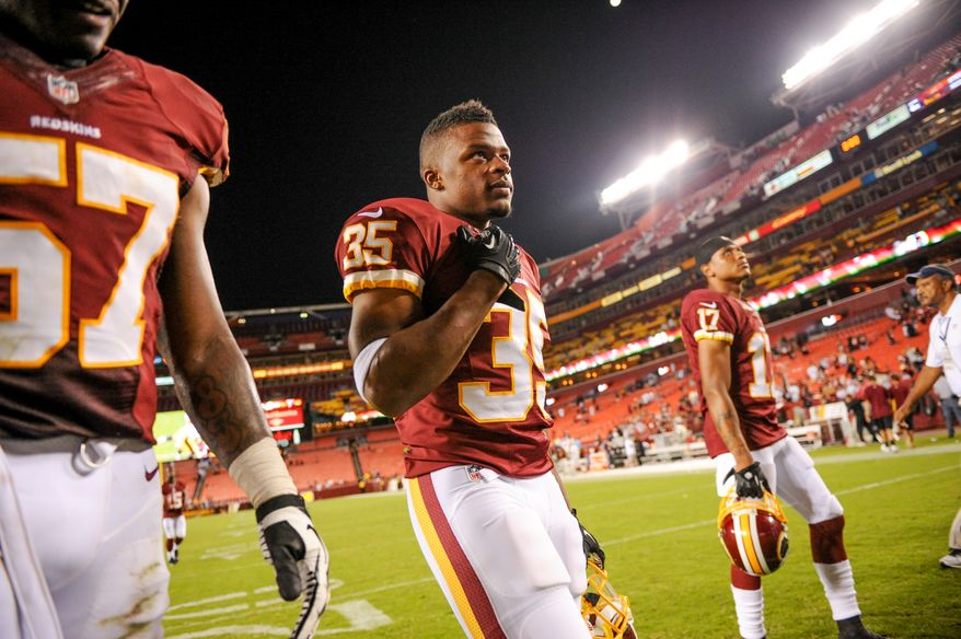 Washington Redskins running back Chris Thompson (35) leaves the field after the Washington Redskins play the Pittsburgh Steelers in NFL preseason football at FedEx Field, Landover, Md., Monday, August 19, 2013. (Andrew Harnik/The Washington Times)