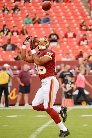 Washington Redskins tight end Jordan Reed (86) catches a pass before the Washington Redskins play the Pittsburgh Steelers in NFL preseason football at FedEx Field, Landover, Md., Monday, August 19, 2013. (Andrew Harnik/The Washington Times)