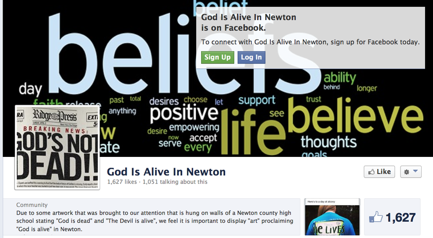 """Crystal Mitchell created the Facebook page """"God Is Alive in Newton"""" to counter a poster with the phrase """"God is dead"""" at her daughter's high school. (Facebook)"""