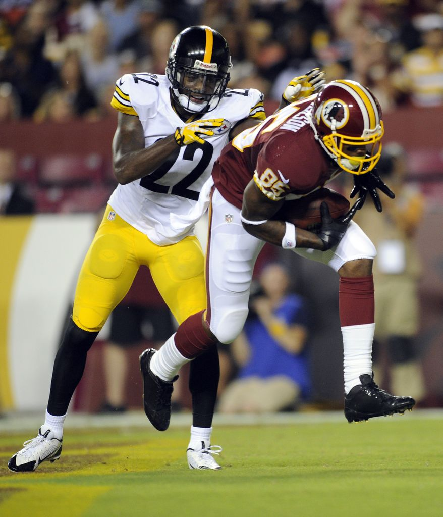 Washington Redskins wide receiver Leonard Hankerson (85) catches a touchdown pass as Pittsburgh Steelers cornerback William Gay (22) defends, during the first half of an NFL preseason football game Monday, Aug. 19, 2013, in Landover, Md. (AP Photo/Nick Wass)