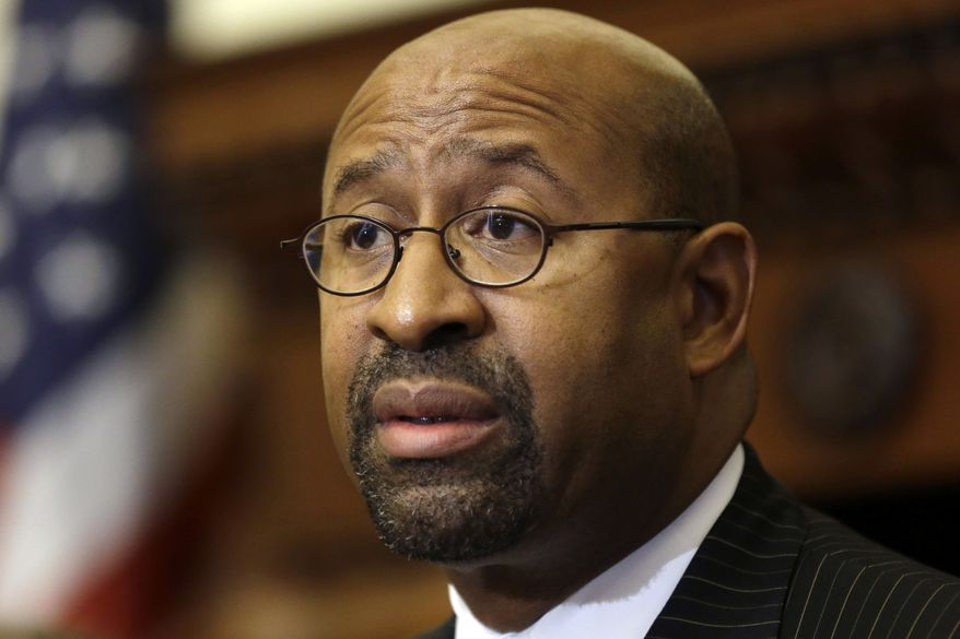 **FILE** Philadelphia Mayor Michael Nutter speaks on Aug. 8, 2013, during a news conference at City Hall. (Associated Press)