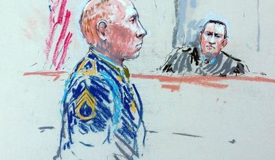 **FILE** In this courtroom sketch, Staff Sgt. Robert Bales (left) appears before Judge Col. Jeffery Nance in a courtroom at Joint Base Lewis-McChord, Wash., on Aug. 20, 2013, during a sentencing hearing in the slayings of 16 civilians killed during pre-dawn raids on two villages on March 11, 2012. (Associated Press)
