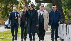 """From left: Martin Freeman, Paddy Considine, Simon Pegg, Nick Frost, and Eddie Marsan star in """"The World's End,"""" which tells the story about old friends reliving a night on the town. (Focus Features via Associated Press)"""