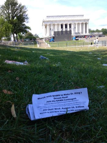 Garbage litters the National Mall in front of the Lincoln Memorial on Sunday, Aug. 25, 2013, a day after the 50th-anniv