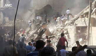 In this citizen journalism image which has been authenticated based on its contents and other AP reporting, Syrians inspect the rubble of damaged buildings due to heavy shelling by Syrian government forces in Aleppo, Syria, on Aug. 26, 2013. (Associated Press/Aleppo Media Center)