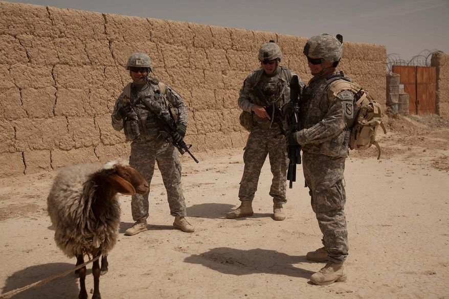 U.S. Soldiers assigned to Headquarters and Headquarters Company, 525th Battlefield Surveillance Brigade look at a sheep during a mission to the Shorabak district center of Kandahar province, Afghanistan, March 26, 2011. The purpose of the mission was to conduct a site survey of the Zone 3 Afghan National Police station to see what improvements are necessary. (DoD photo by Sgt. Canaan Radcliffe, U.S. Army/Released)