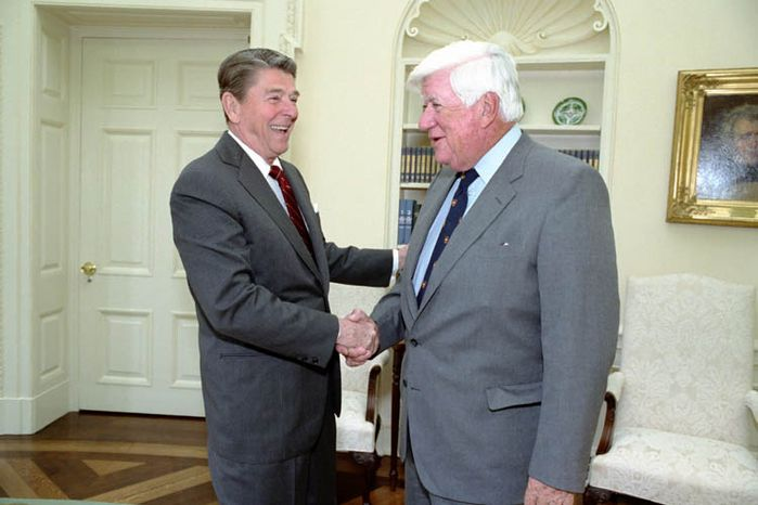 President Ronald Reagan and House Speaker Tip O'Neill. (credit: Reagan Library)