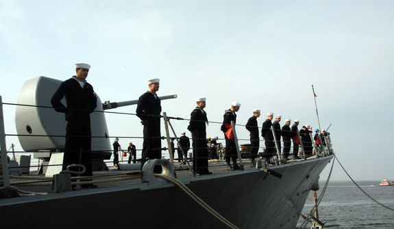 Sailors aboard the U.S.S. Barry, a guided missile destroyer deployed to the Mediterranean. (credit: U.S. Navy)