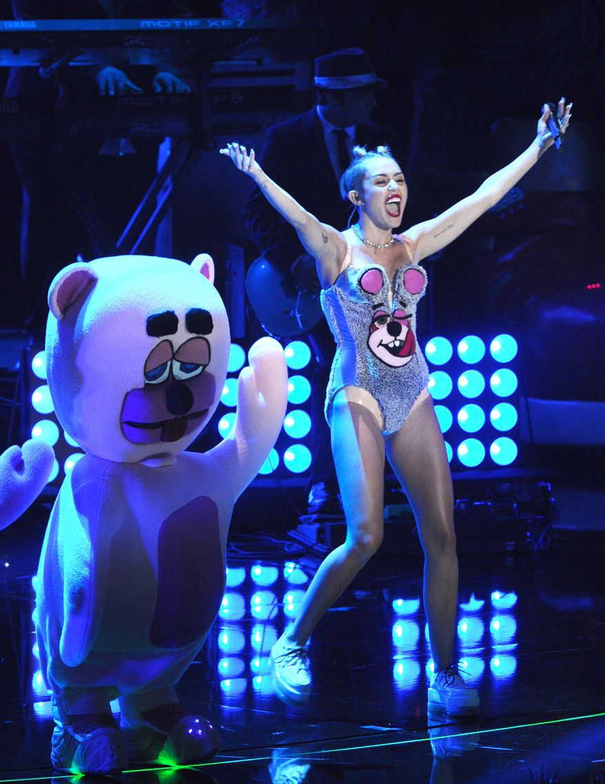 Miley Cyrus performs at the MTV Video Music Awards on Sunday, Aug. 25, 2013, at the Barclays Center in the Brooklyn borough of New York. (Charles Sykes/Invision/AP)