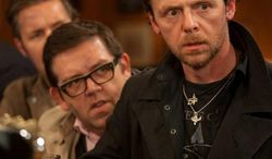 """Simon Pegg (right), star of """"The World's End,"""" bemoans the fact that we've become, as he put it, """"infantilized"""" with decisions such as raising a family put off until later. (Focus Features via Associated Press)"""