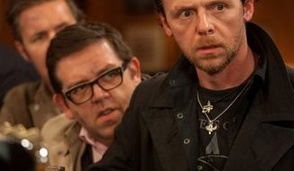 "Simon Pegg (right), star of ""The World's End,"" bemoans the fact that we've become, as he put it, ""infantilized"" with decisions such as raising a family put off until later. (Focus Features via Associated Press)"