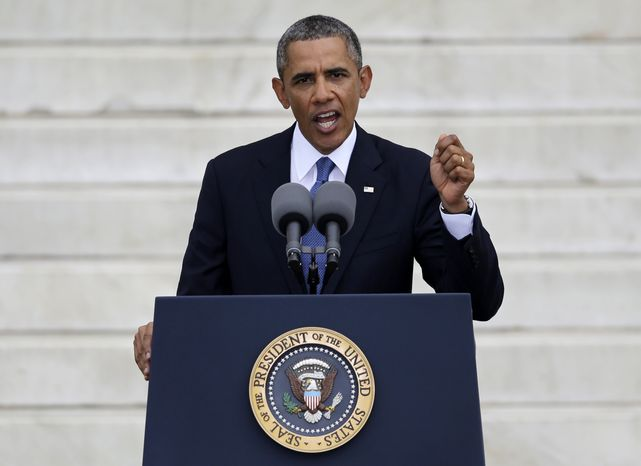 President Obama speaks on the steps of the Lincoln Memorial in Washington on Aug. 28, 2013, during a ceremony to commemorate the 50th Anniversary of the 1963 March on Washington for Jobs and Freedom. (Associated Press)