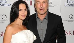 """** FILE ** Actor Alec Baldwin and pregnant wife, Hilaria, attend the premiere of the film """"Blue Jasmine"""" at the Museum of Modern Art in New York on Monday, July 22, 2013. (Evan Agostini/Invision/AP)"""
