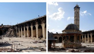 This combination of two citizen journalist images shows at left: the damaged 12th century Umayyad mosque without the minaret, which was destroyed by shelling in Aleppo, Syria, Wednesday April 24, 2013; and at right, an undated view of the mosque with is minaret still intact. (AP Photo/Aleppo Media Center, AMC, FILE)