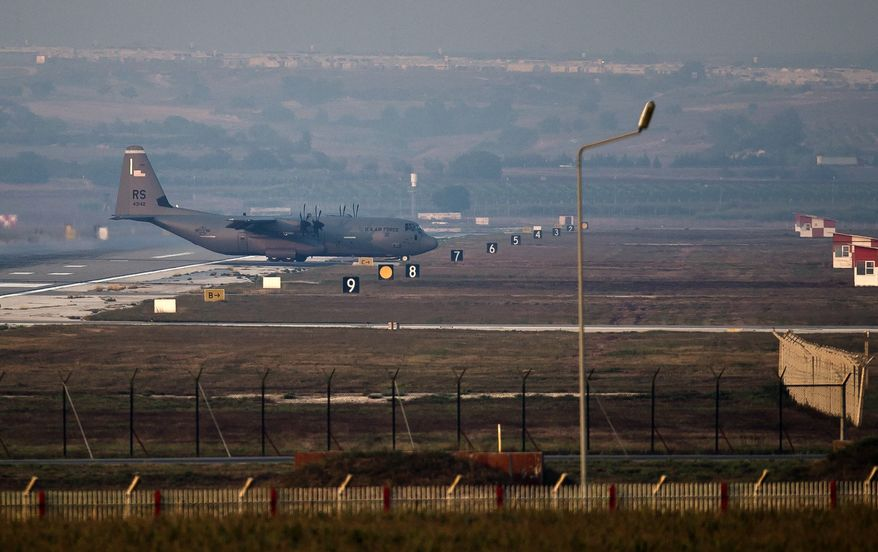 A U.S. Air Force plane maneuvers on the runway at Incirlik Air Base, Turkey, Thursday, Aug. 29, 2013. U.N. Secretary-General Ban Ki-moon said the Inspection team in Syria is expected to complete its work Friday and report to him Saturday. (AP Photo/Vadim Ghirda)