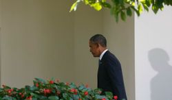 President Obama walks back to the Oval Office after making a statement about the crisis in Syria in the Rose Garden at the White House in Washington, Saturday, Aug. 31, 2013. (AP Photo/Charles Dharapak)