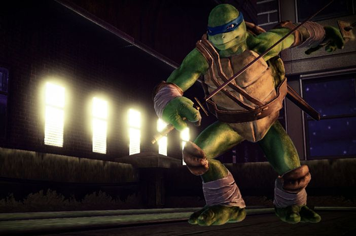 Leonardo wields a pair of two katana-style swords in the video game Teenage Mutant Ninja Turtles: Out of the Shadows