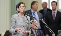 California Assemblywoman Kristin Olsen, Modesto Republican, spoke out against the bill that allows midwives and other non-physicians to perform first-trimester abortions. The bill passed and goes to Gov. Jerry Brown for his signature. (ASSOCIATED PRESS)