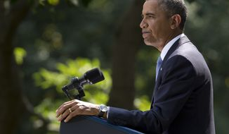 ** FILE ** President Obama delivers remarks about the ongoing situation in Syria in the Rose Garden of the White House on Saturday, Aug. 31, 2013, in Washington. Mr. Obama said that he has decided the United States should take military action against Syria in response to a deadly chemical weapons attack but that he will seek congressional authorization for the use of force. (AP Photo/Evan Vucci)