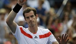 Britain's Andy Murray waves to the crowd after beating Florian Mayer, of Germany, during the third round of the 2013 U.S. Open tennis tournament, Sunday, Sept. 1, 2013, in New York. (AP Photo/David Goldman)
