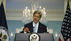 Secretary of State John F. Kerry makes a statement about Syria at the State Department in Washington on Friday, Aug. 30, 2013. (AP Photo/Charles Dharapak)