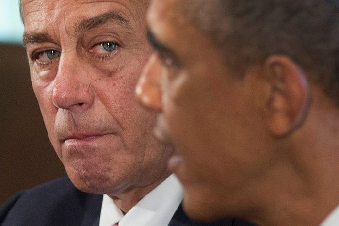 ** FILE ** House Speaker John A. Boehner, Ohio Republican, speaks President Obama. (Associated Press photographs)