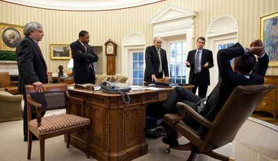 President Barack Obama confers in the Oval Office with, from left, Counselor to the President Pete Rouse, Director of Legislative Affairs Rob Nabors, Special Advisor Phil Schiliro, and Senior Advisor David Plouffe, Feb. 24, 2011. (Official White House Photo by Pete Souza)