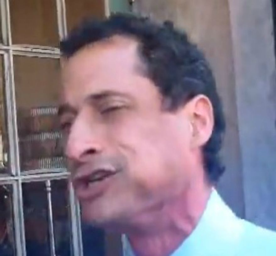 """** FILE ** New York City mayoral candidate Anthony Weiner pauses outside a deli before turning around and calling a voter a """"jackass"""" on Wednesday, September 4, 2013. (Image: YouTube)"""