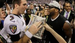 Ravens quarterback Joe Flacco proved his worth in leading Baltimore to a Super Bowl title in February, and now he becomes more of a recognized leader with the retirement of linebacker Ray Lewis. (associated press)