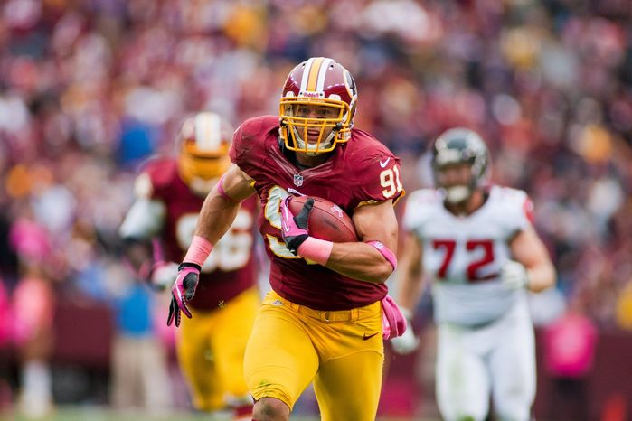 "Ryan Kerrigan was an All-America defensive end at Purdue before he was drafted at No. 16 in 2011. With the switch to outside linebacker as a pro, he has amassed 16 sacks, two interceptions and two touchdowns in his two seasons with the Redskins. ""He's very durable and intelligent,"" coach Mike Shanahan say"