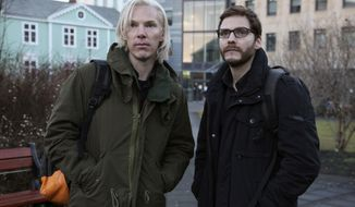 "Benedict Cumberbatch as Julian Assange, left, with Daniel Bruhl as Daniel Domscheit-Berg in the WikiLeaks drama ""The Fifth Estate."" (AP Photo/ Frank Connor, File)"