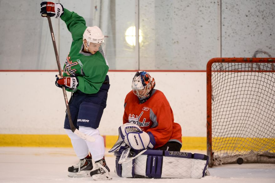 Forward Nathan Walker (79) in afternoon practice during the 2013 Capitals Rookie Camp at Kettler Capitals Iceplex, Arlington, Va., Thursday, September 5, 2013. (Andrew Harnik/The Washington Times)