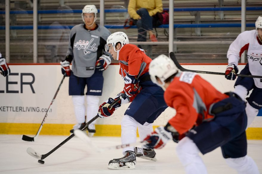 Forward Tom Wilson (43), center, participates in afternoon practice during the 2013 Capitals Rookie Camp at Kettler Capitals Iceplex, Arlington, Va., Thursday, September 5, 2013. (Andrew Harnik/The Washington Times)