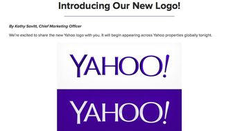 This screen grab made from Yahoo Inc.'s Tumblr page shows the company's new logo in a post published on Wednesday, Sept. 4, 2013. Yahoo has adopted a new logo for the first time since shortly after the Internet company's founding 18 years ago. (AP Photo/Yahoo Inc.)