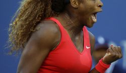 Serena Williams reacts after a point against Li Na, of China, during the semifinals of the 2013 U.S. Open tennis tournament, Friday, Sept. 6, 2013, in New York. (AP Photo/David Goldman)