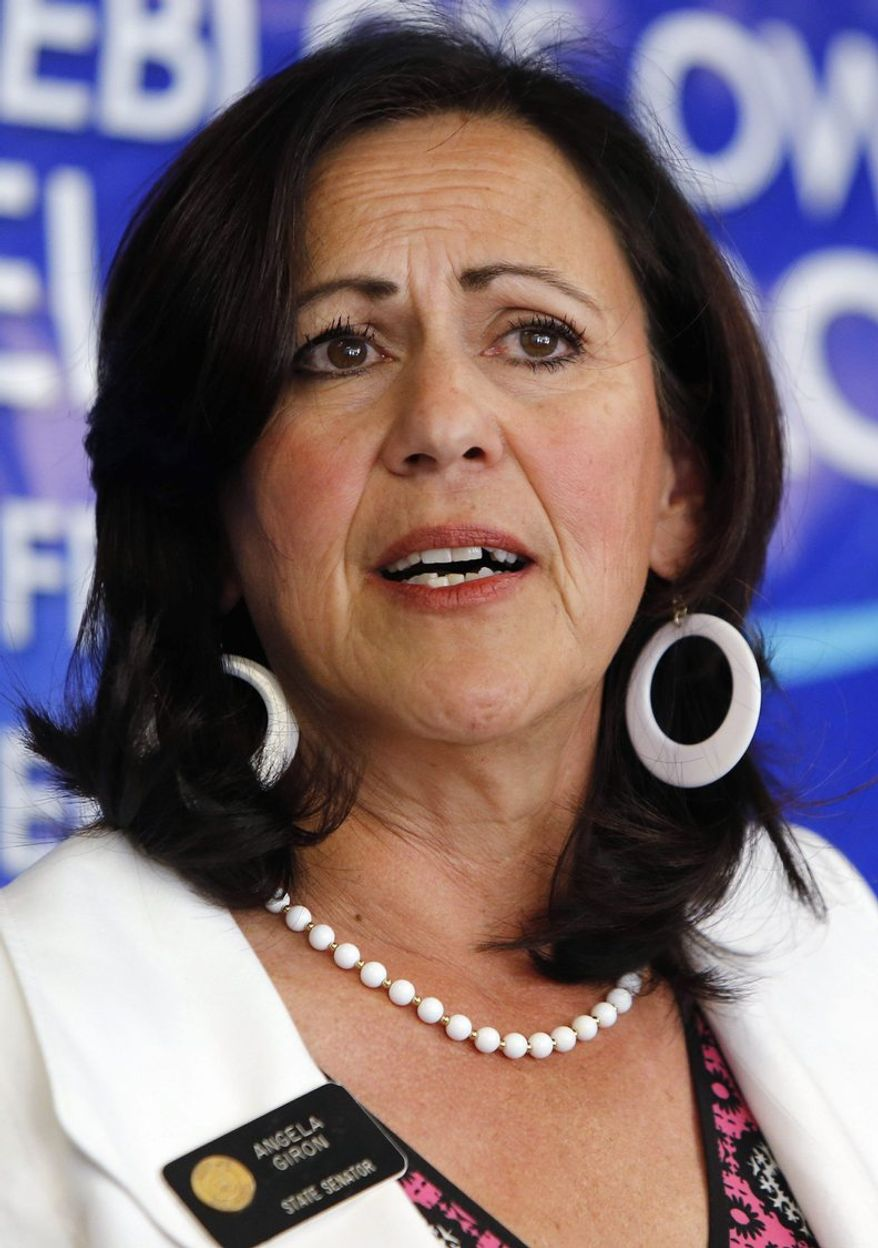 Colorado state Sen. Angela Giron, a Democrat, is the focus of a recall vote Tuesday in Pueblo. Another recall is set for Colorado Springs. (Associated Press)