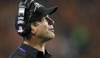 Baltimore Ravens head coach John Harbaugh looks upward during the second half of an NFL football game against the Denver Broncos, Thursday, Sept. 5, 2013, in Denver. (AP Photo/Joe Mahoney)