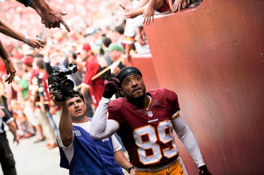 Washington Redskins wide receiver Santana Moss (89) heads back into the locker room after pre game warm ups as the Washington Redskins play the Philadelphia Eagles in Monday Night NFL football at FedExField, Landover, Md., Monday, September 9, 2013. (Andrew Harnik/The Washington Times)