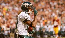 Philadelphia Eagles wide receiver DeSean Jackson (10) celebrates after catching a 25 yard touchdown in the first quarter as the Washington Redskins play the Philadelphia Eagles in Monday Night NFL football at FedExField, Landover, Md., Monday, September 9, 2013. (Andrew Harnik/The Washington Times)