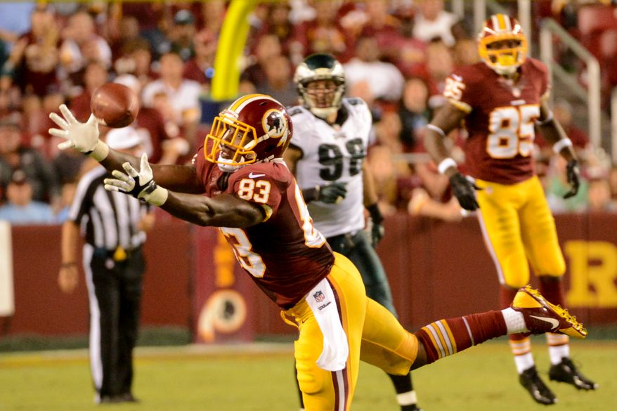 Washington Redskins tight end Fred Davis (83) can't hold onto a pass in the third quarter as the Washington Redskins play the Philadelphia Eagles in Monday Night NFL football at FedExField, Landover, Md., Monday, September 9, 2013. (Andrew Harnik/The Washington Times)