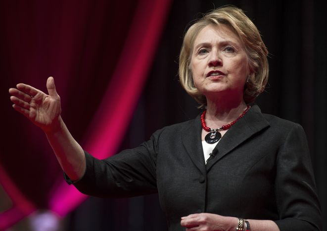 **FILE** Former Secretary of State Hillary Rodham Clinton speaks in Washington on July 16, 2013. (Associated Press)