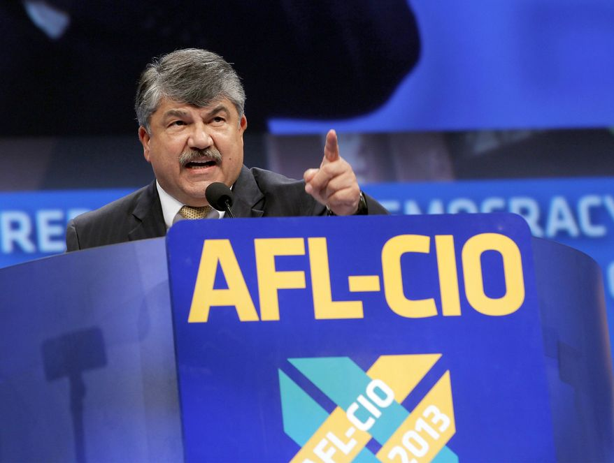 Richard L. Trumka, president of the American Federation of Labor and Congress of Industrial Organizations, addresses members during the quadrennial AFL-CIO convention at the Los Angeles Convention Center on Monday, Sept. 9, 2013, in Los Angeles. (AP Photo/Nick Ut) ** FILE **